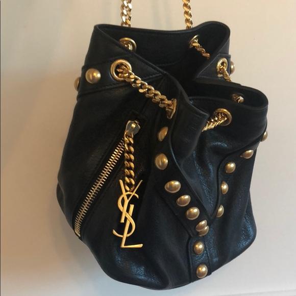 YSL gold studded black bucket bag 🤩 6dce84139fc64
